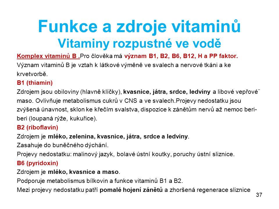 Funkce a zdroje vitaminů Vitaminy rozpustné ve vodě Komplex vitaminů B.Pro člověka má význam B1, B2, B6, B12, H a PP faktor. Význam vitaminů B je vzta