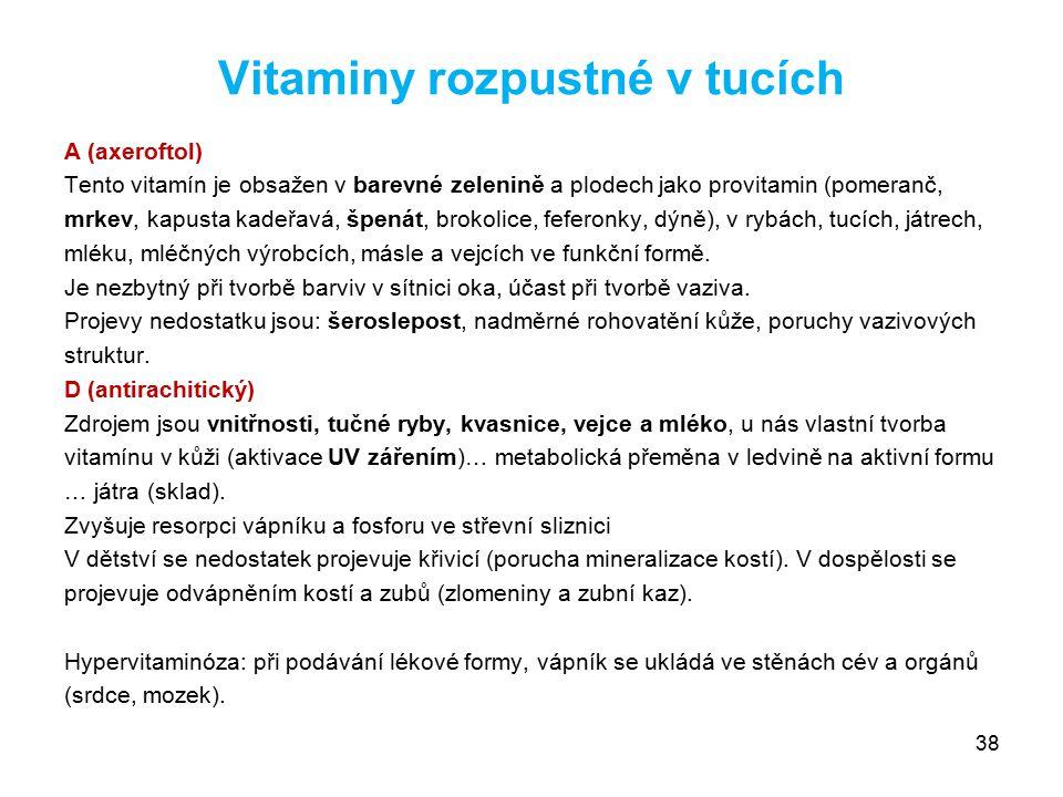 Vitaminy rozpustné v tucích A (axeroftol) Tento vitamín je obsažen v barevné zelenině a plodech jako provitamin (pomeranč, mrkev, kapusta kadeřavá, šp