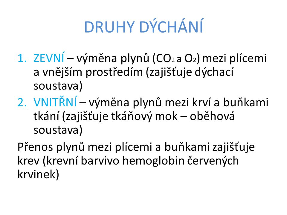 Schéma dýchání: vnější prostředí → plíce → krev → buňky tkání zevní dýchání vnitřní dýchání
