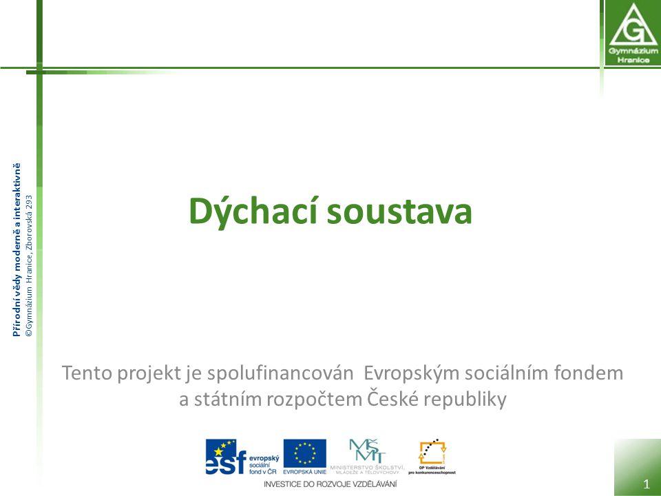 Přírodní vědy moderně a interaktivně ©Gymnázium Hranice, Zborovská 293 Dýchací soustava 1 Tento projekt je spolufinancován Evropským sociálním fondem