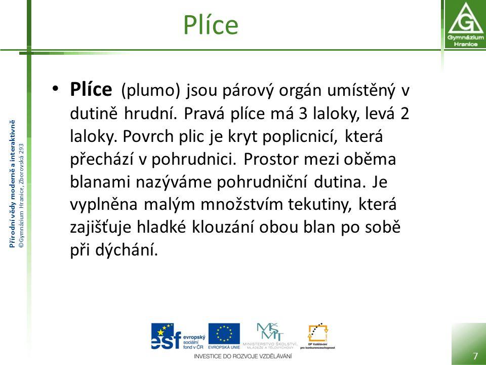 Přírodní vědy moderně a interaktivně ©Gymnázium Hranice, Zborovská 293 Plíce Plíce (plumo) jsou párový orgán umístěný v dutině hrudní. Pravá plíce má