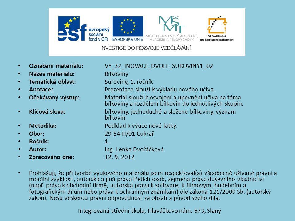 Označení materiálu: VY_32_INOVACE_DVOLE_SUROVINY1_02 Název materiálu:Bílkoviny Tematická oblast:Suroviny, 1.