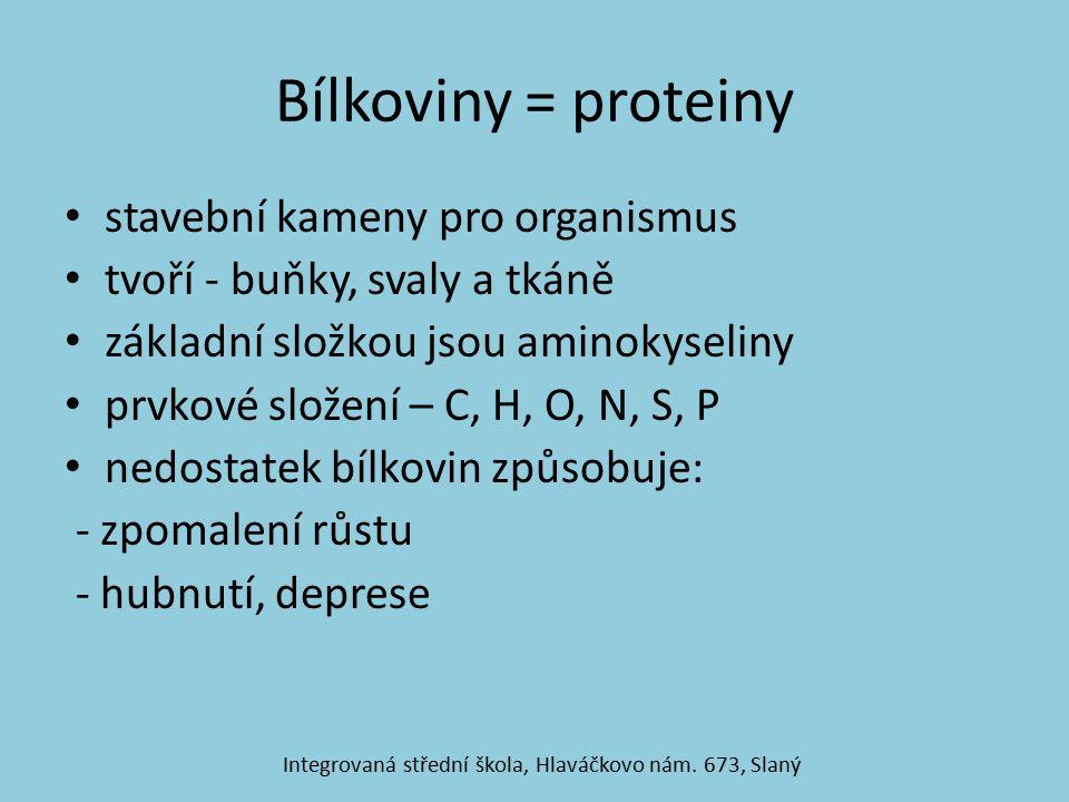 Bílkoviny = proteiny stavební kameny pro organismus tvoří - buňky, svaly a tkáně základní složkou jsou aminokyseliny prvkové složení – C, H, O, N, S, P nedostatek bílkovin způsobuje: - zpomalení růstu - hubnutí, deprese Integrovaná střední škola, Hlaváčkovo nám.