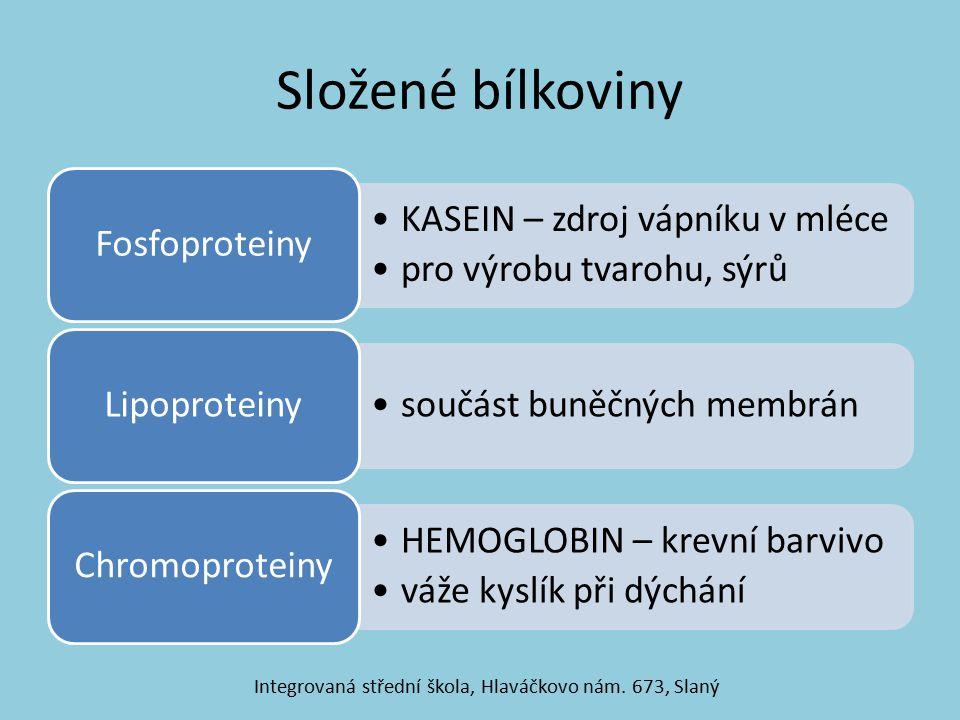Složené bílkoviny KASEIN – zdroj vápníku v mléce pro výrobu tvarohu, sýrů Fosfoproteiny součást buněčných membrán Lipoproteiny HEMOGLOBIN – krevní barvivo váže kyslík při dýchání Chromoproteiny Integrovaná střední škola, Hlaváčkovo nám.