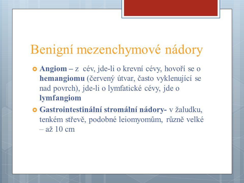 Benigní mezenchymové nádory  Angiom – z cév, jde-li o krevní cévy, hovoří se o hemangiomu (červený útvar, často vyklenující se nad povrch), jde-li o