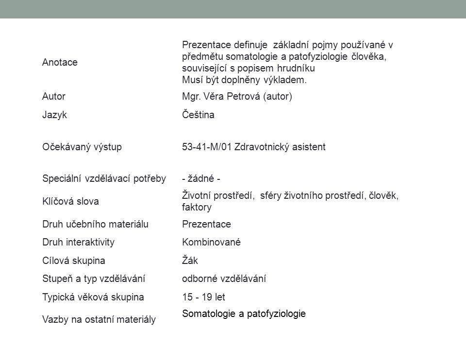 Anotace Prezentace definuje základní pojmy používané v předmětu somatologie a patofyziologie člověka, související s popisem hrudníku Musí být doplněny