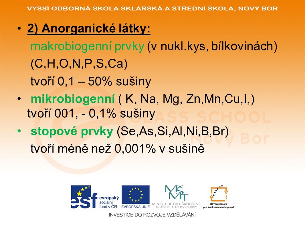 2) Anorganické látky: makrobiogenní prvky (v nukl.kys, bílkovinách) (C,H,O,N,P,S,Ca) tvoří 0,1 – 50% sušiny mikrobiogenní ( K, Na, Mg, Zn,Mn,Cu,I,) tvoří 001, - 0,1% sušiny stopové prvky (Se,As,Si,Al,Ni,B,Br) tvoří méně než 0,001% v sušině
