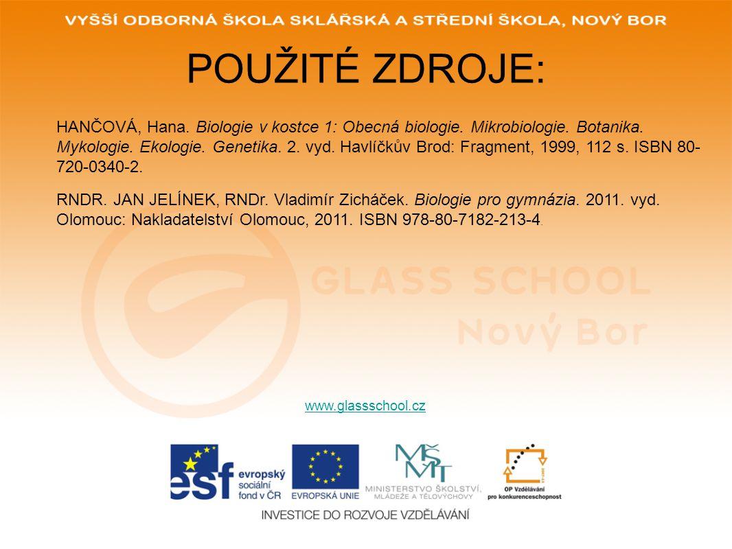 POUŽITÉ ZDROJE: www.glassschool.cz HANČOVÁ, Hana.Biologie v kostce 1: Obecná biologie.