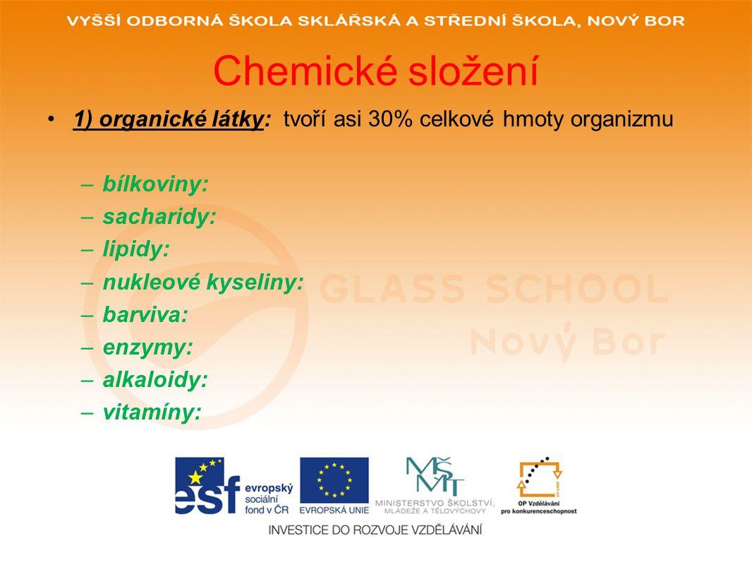 Chemické složení 1) organické látky: tvoří asi 30% celkové hmoty organizmu –bílkoviny: –sacharidy: –lipidy: –nukleové kyseliny: –barviva: –enzymy: –alkaloidy: –vitamíny: