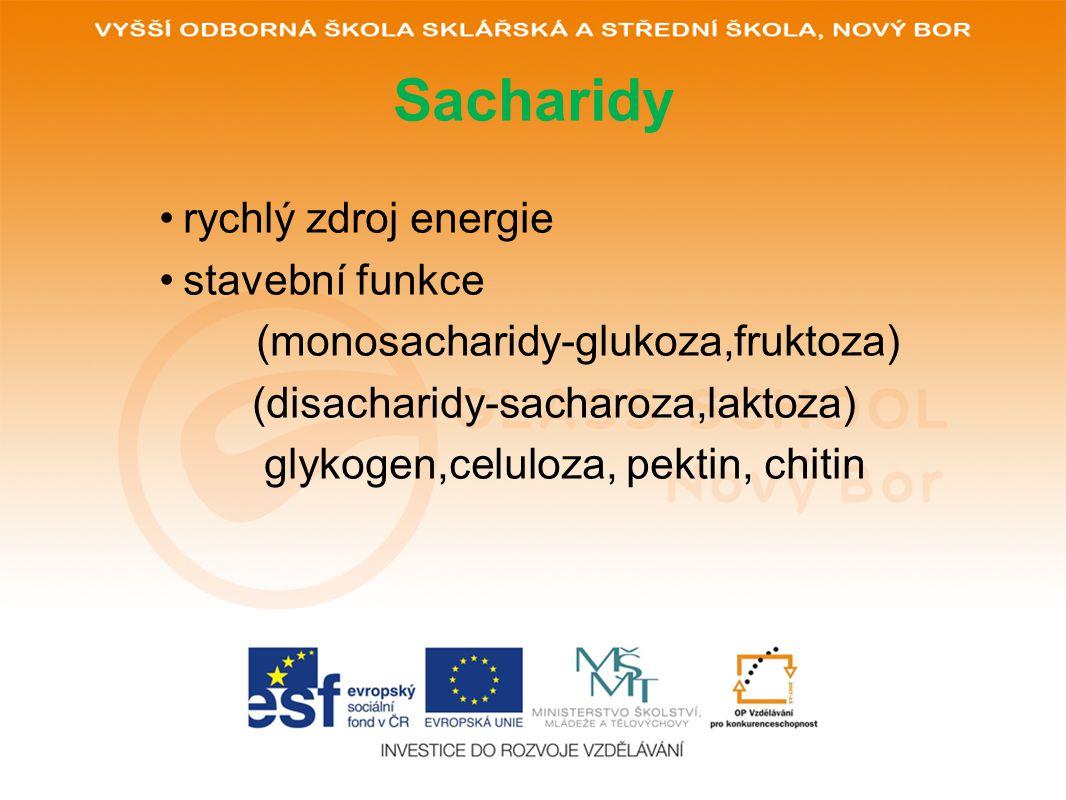 Sacharidy rychlý zdroj energie stavební funkce (monosacharidy-glukoza,fruktoza) (disacharidy-sacharoza,laktoza) glykogen,celuloza, pektin, chitin