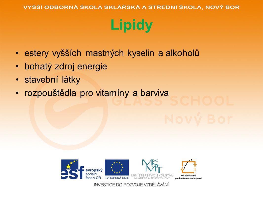 Lipidy estery vyšších mastných kyselin a alkoholů bohatý zdroj energie stavební látky rozpouštědla pro vitamíny a barviva
