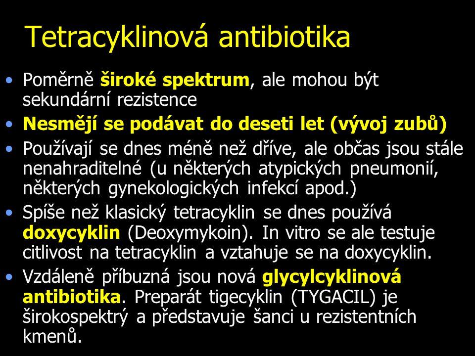 Tetracyklinová antibiotika Poměrně široké spektrum, ale mohou být sekundární rezistence Nesmějí se podávat do deseti let (vývoj zubů) Používají se dne