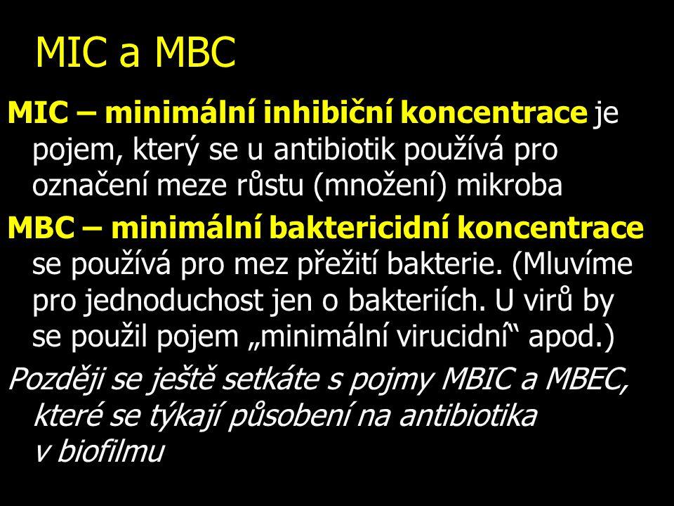 MIC a MBC MIC – minimální inhibiční koncentrace je pojem, který se u antibiotik používá pro označení meze růstu (množení) mikroba MBC – minimální bakt