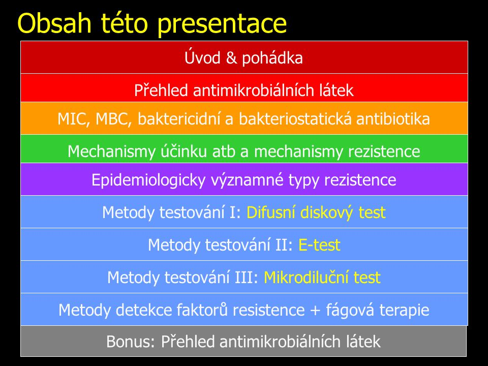 Metody zjišťování citlivosti in vitro Zjišťování citlivosti in vitro = v laboratoři Nezaručí stoprocentní účinnost léčby Přesto vhodné u většiny nálezů kultivovatelných patogenních bakterií V běžných případech kvalitativní testy (citlivý – rezistentní) V indikovaných případech kvantitativní (zjišťujeme MIC).