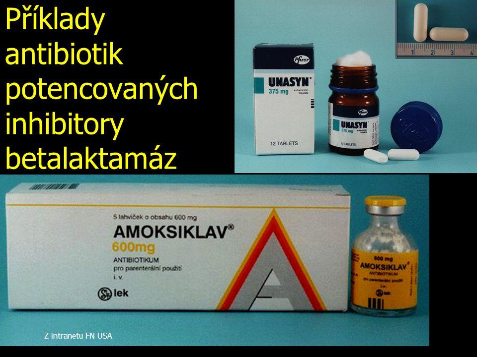 Příklady antibiotik potencovaných inhibitory betalaktamáz Z intranetu FN USA