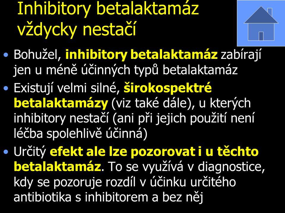 Inhibitory betalaktamáz vždycky nestačí Bohužel, inhibitory betalaktamáz zabírají jen u méně účinných typů betalaktamáz Existují velmi silné, širokosp
