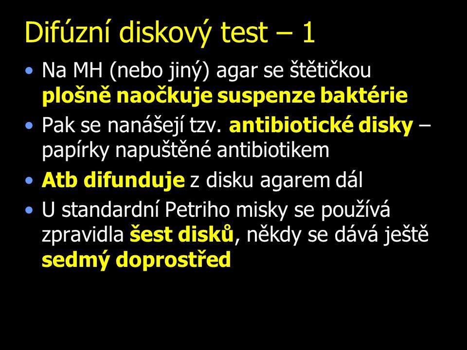 Difúzní diskový test – 1 Na MH (nebo jiný) agar se štětičkou plošně naočkuje suspenze baktérie Pak se nanášejí tzv. antibiotické disky – papírky napuš