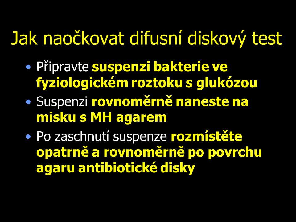 Jak naočkovat difusní diskový test Připravte suspenzi bakterie ve fyziologickém roztoku s glukózou Suspenzi rovnoměrně naneste na misku s MH agarem Po