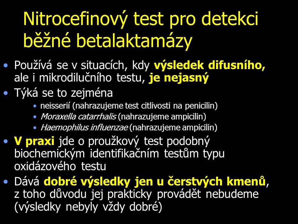 Nitrocefinový test pro detekci běžné betalaktamázy Používá se v situacích, kdy výsledek difusního, ale i mikrodilučního testu, je nejasný Týká se to z