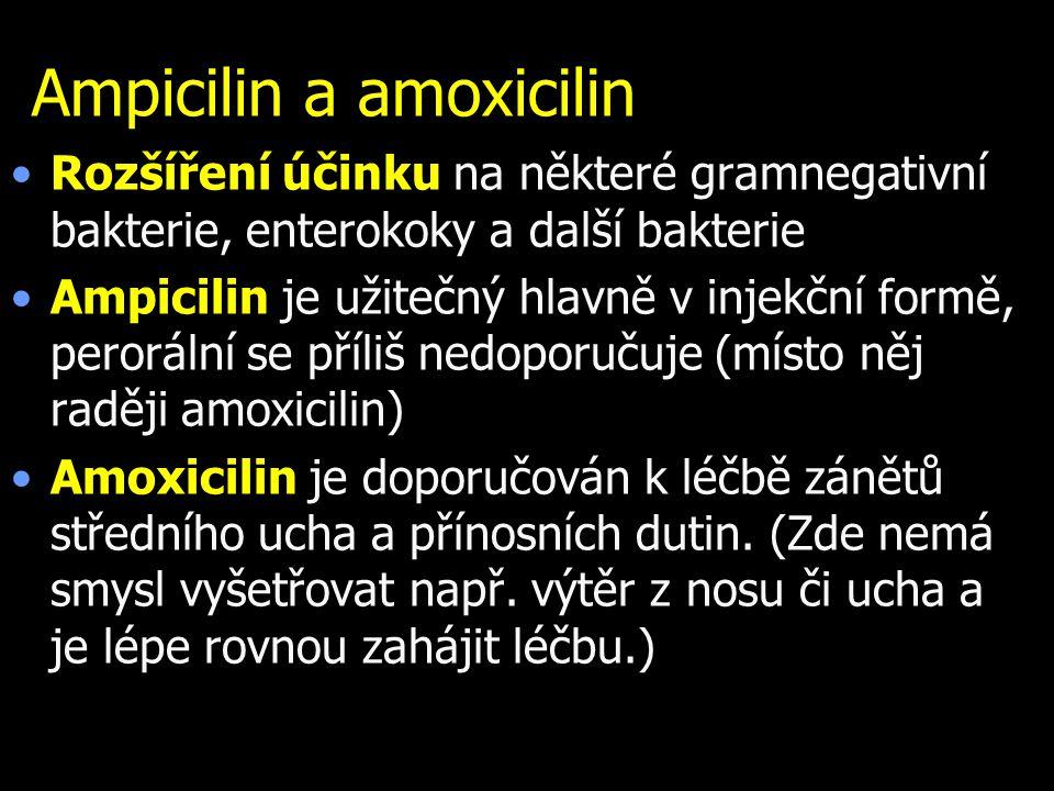 Ampicilin a amoxicilin Rozšíření účinku na některé gramnegativní bakterie, enterokoky a další bakterie Ampicilin je užitečný hlavně v injekční formě,