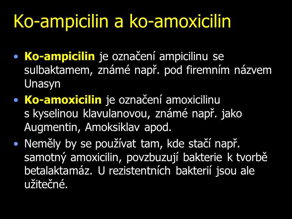 Ko-ampicilin a ko-amoxicilin Ko-ampicilin je označení ampicilinu se sulbaktamem, známé např. pod firemním názvem Unasyn Ko-amoxicilin je označení amox