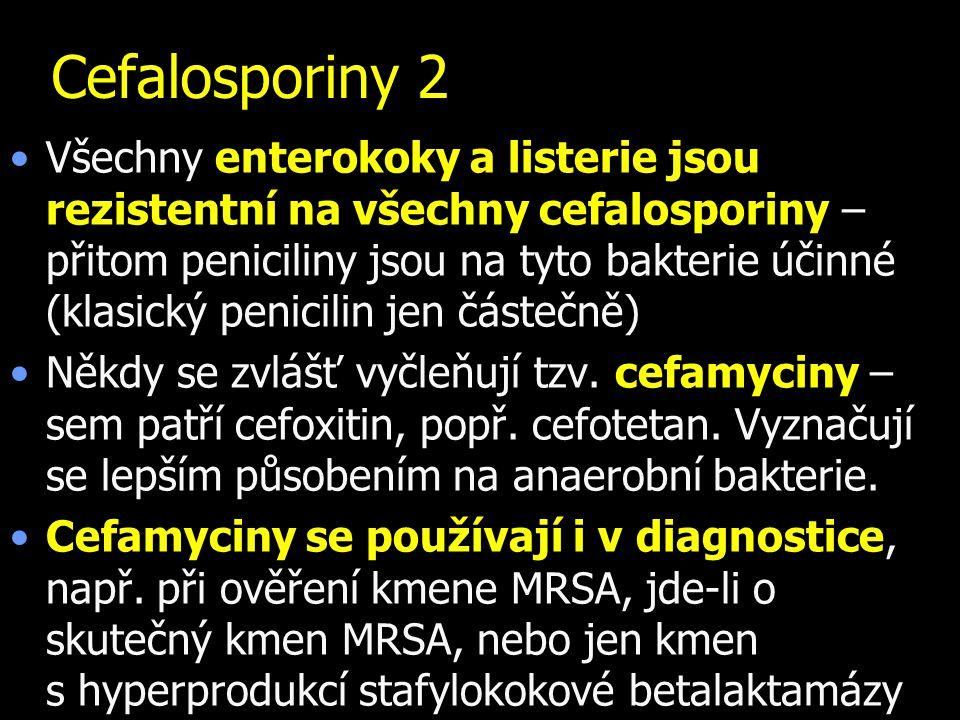 Cefalosporiny 2 Všechny enterokoky a listerie jsou rezistentní na všechny cefalosporiny – přitom peniciliny jsou na tyto bakterie účinné (klasický pen