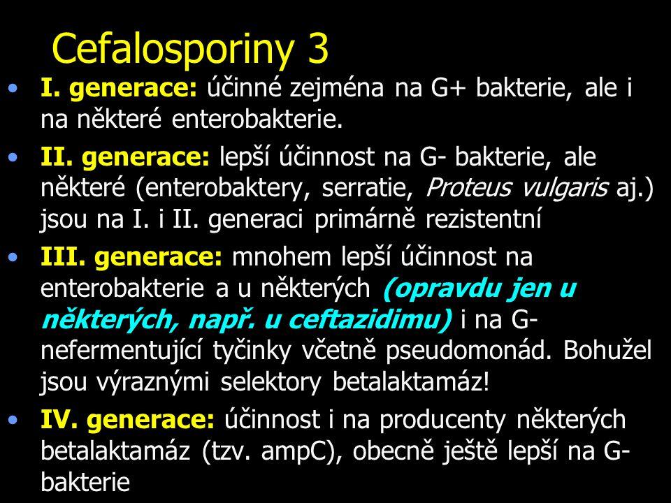 Cefalosporiny 3 I. generace: účinné zejména na G+ bakterie, ale i na některé enterobakterie. II. generace: lepší účinnost na G- bakterie, ale některé