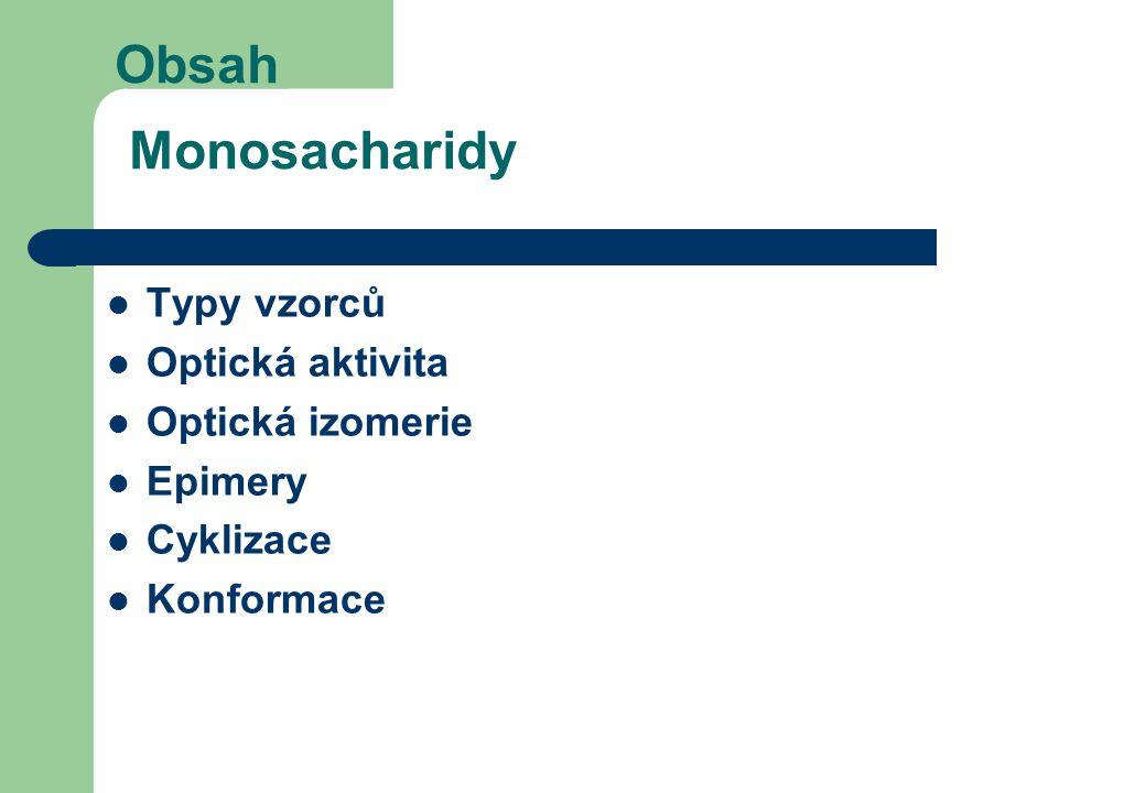 Obsah Monosacharidy Typy vzorců Optická aktivita Optická izomerie Epimery Cyklizace Konformace