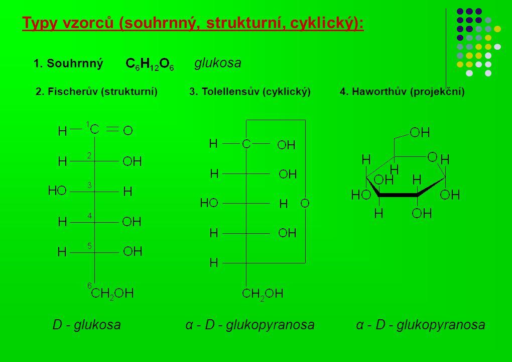 Typy vzorců (souhrnný, strukturní, cyklický): α - D - glukopyranosa D - glukosa 1. Souhrnný glukosa 2. Fischerův (strukturní) 3. Tolellensův (cyklický