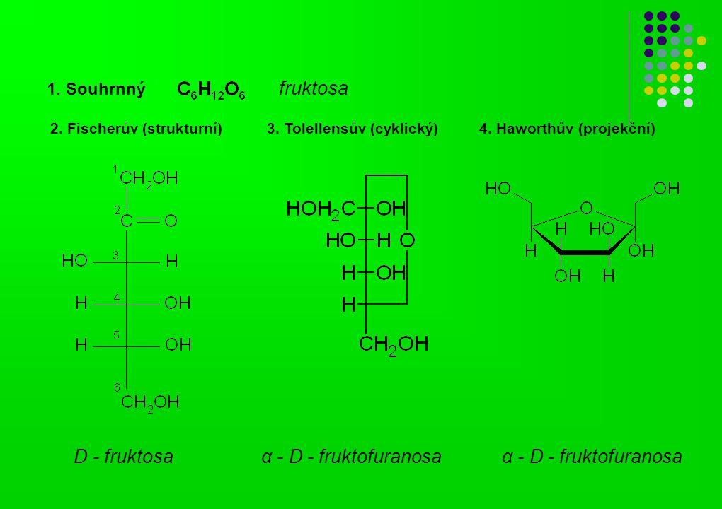 α - D - fruktofuranosa D - fruktosa 1. Souhrnný fruktosa 2. Fischerův (strukturní) 3. Tolellensův (cyklický) 4. Haworthův (projekční)