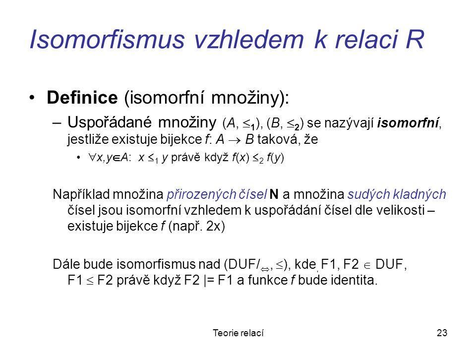 23Teorie relací Isomorfismus vzhledem k relaci R Definice (isomorfní množiny): –Uspořádané množiny (A,  1 ), (B,  2 ) se nazývají isomorfní, jestliž