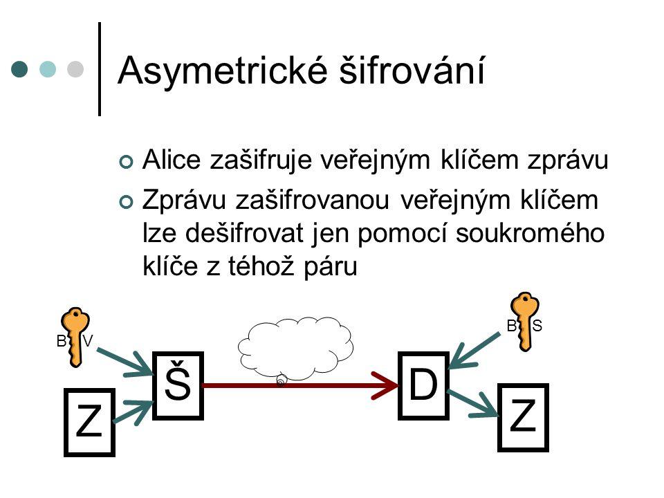 Asymetrické šifrování Alice zašifruje veřejným klíčem zprávu Zprávu zašifrovanou veřejným klíčem lze dešifrovat jen pomocí soukromého klíče z téhož pá