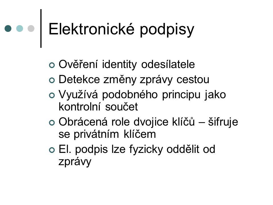 Elektronické podpisy Ověření identity odesílatele Detekce změny zprávy cestou Využívá podobného principu jako kontrolní součet Obrácená role dvojice klíčů – šifruje se privátním klíčem El.