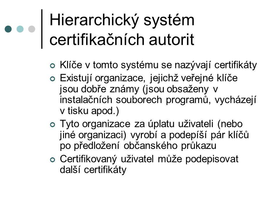 Hierarchický systém certifikačních autorit Klíče v tomto systému se nazývají certifikáty Existují organizace, jejichž veřejné klíče jsou dobře známy (jsou obsaženy v instalačních souborech programů, vycházejí v tisku apod.) Tyto organizace za úplatu uživateli (nebo jiné organizaci) vyrobí a podepíší pár klíčů po předložení občanského průkazu Certifikovaný uživatel může podepisovat další certifikáty