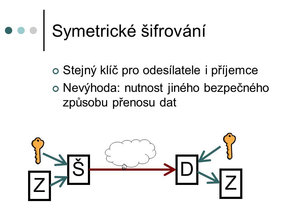 Symetrické šifrování Stejný klíč pro odesílatele i příjemce Nevýhoda: nutnost jiného bezpečného způsobu přenosu dat Z ŠD Z