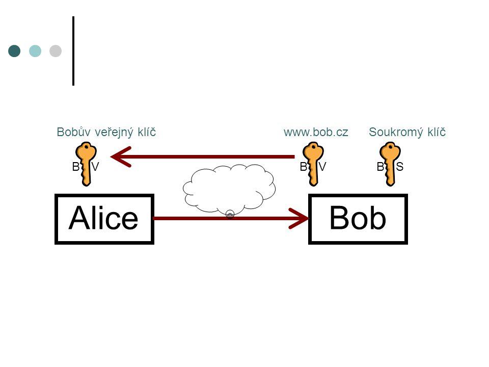 Asymetrické šifrování Alice zašifruje veřejným klíčem zprávu Zprávu zašifrovanou veřejným klíčem lze dešifrovat jen pomocí soukromého klíče z téhož páru Z ŠD Z BVBS