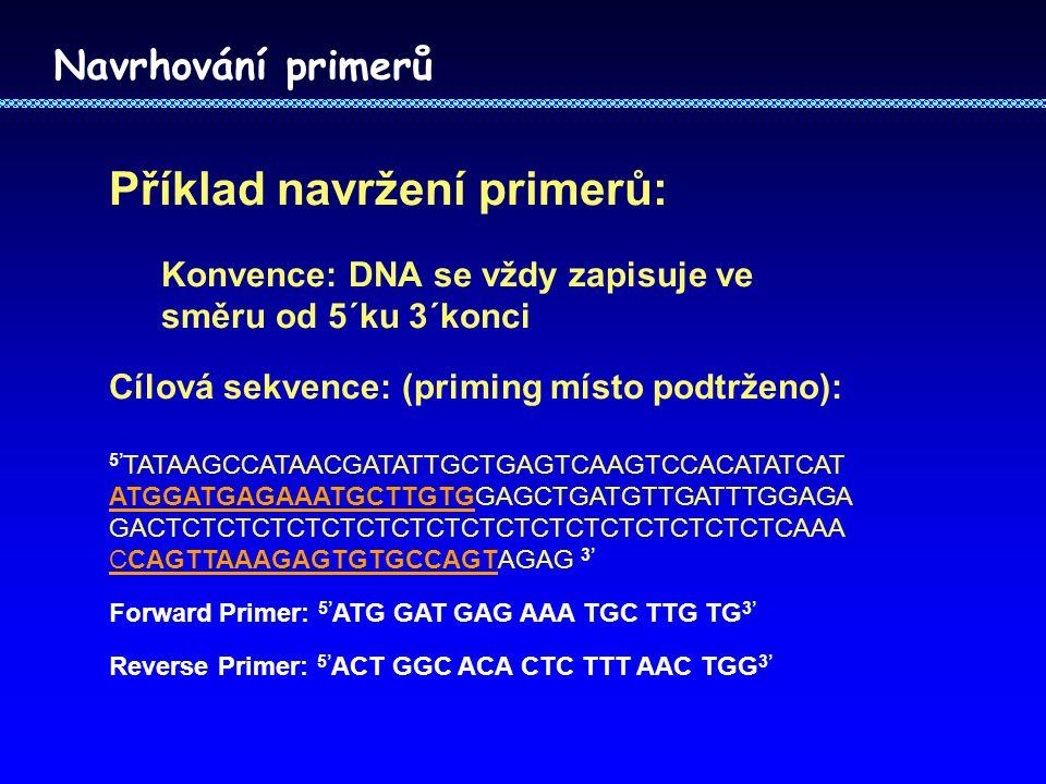 Navrhování primerů Příklad navržení primerů: Konvence: DNA se vždy zapisuje ve směru od 5´ku 3´konci Cílová sekvence: (priming místo podtrženo): 5' TATAAGCCATAACGATATTGCTGAGTCAAGTCCACATATCAT ATGGATGAGAAATGCTTGTGGAGCTGATGTTGATTTGGAGA GACTCTCTCTCTCTCTCTCTCTCTCTCTCTCTCTCTCTCAAA CCAGTTAAAGAGTGTGCCAGTAGAG 3' Forward Primer: 5' ATG GAT GAG AAA TGC TTG TG 3' Reverse Primer: 5' ACT GGC ACA CTC TTT AAC TGG 3'