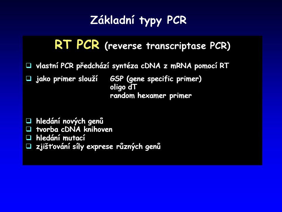 Základní typy PCR RT PCR (reverse transcriptase PCR)  vlastní PCR předchází syntéza cDNA z mRNA pomocí RT  jako primer sloužíGSP (gene specific prim
