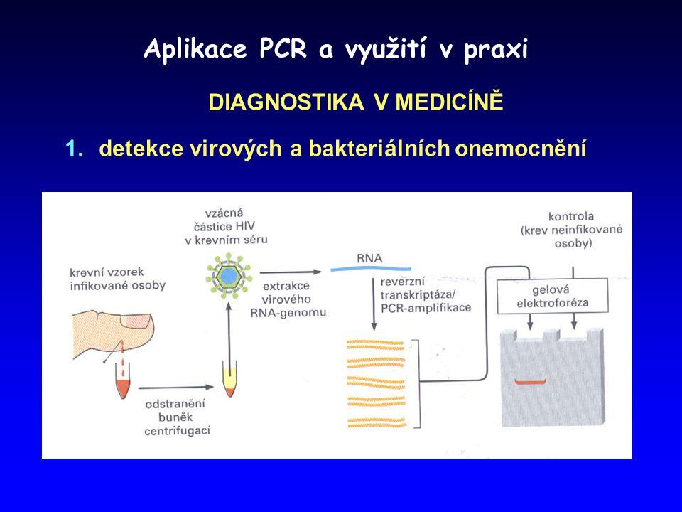Aplikace PCR a využití v praxi DIAGNOSTIKA V MEDICÍNĚ  detekce virových a bakteriálních onemocnění