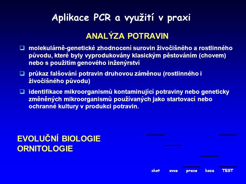 Aplikace PCR a využití v praxi ANALÝZA POTRAVIN  molekulárně-genetické zhodnocení surovin živočišného a rostlinného původu, které byly vyprodukovány klasickým pěstováním (chovem) nebo s použitím genového inženýrství  průkaz falšování potravin druhovou záměnou (rostlinného i živočišného původu)  identifikace mikroorganismů kontaminující potraviny nebo geneticky změněných mikroorganismů používaných jako startovací nebo ochranné kultury v produkci potravin.