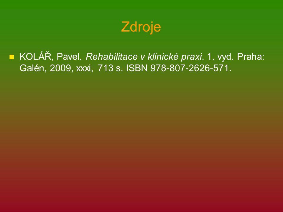 Zdroje KOLÁŘ, Pavel. Rehabilitace v klinické praxi. 1. vyd. Praha: Galén, 2009, xxxi, 713 s. ISBN 978-807-2626-571.
