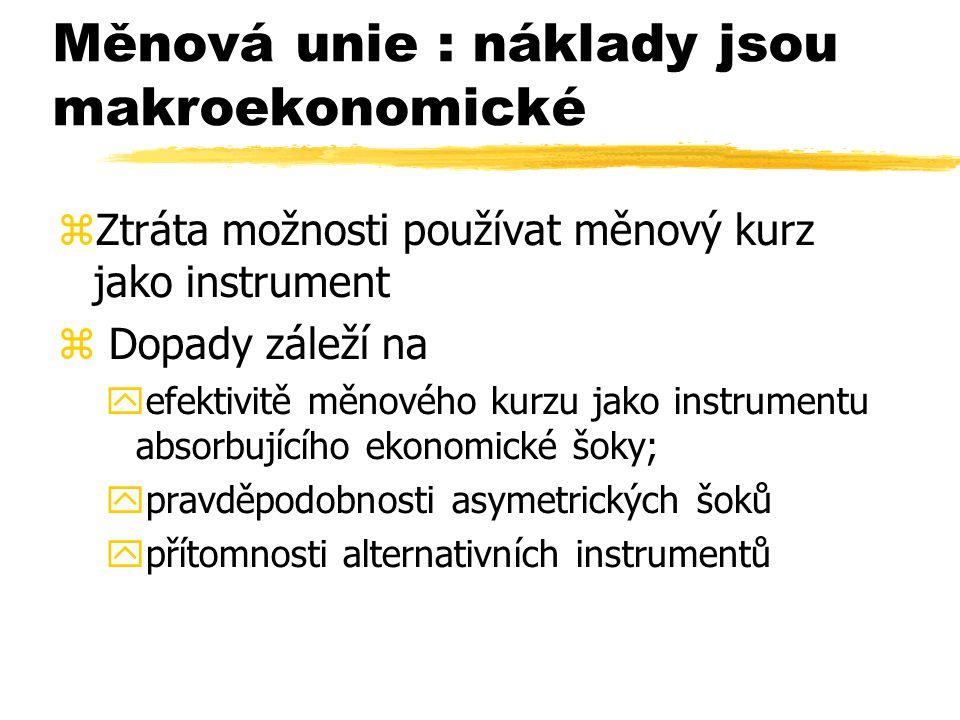 Měnová unie : náklady jsou makroekonomické  Ztráta možnosti používat měnový kurz jako instrument  Dopady záleží na  efektivitě měnového kurzu jako instrumentu absorbujícího ekonomické šoky;  pravděpodobnosti asymetrických šoků  přítomnosti alternativních instrumentů