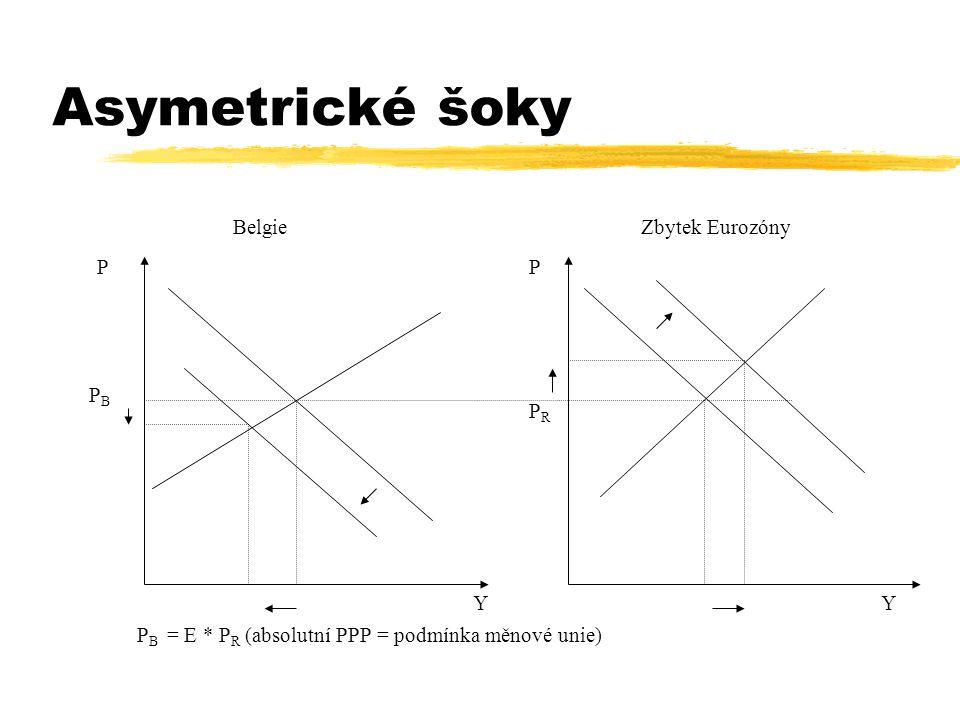 Asymetrické šoky YY PP BelgieZbytek Eurozóny PBPB PRPR P B = E * P R (absolutní PPP = podmínka měnové unie)