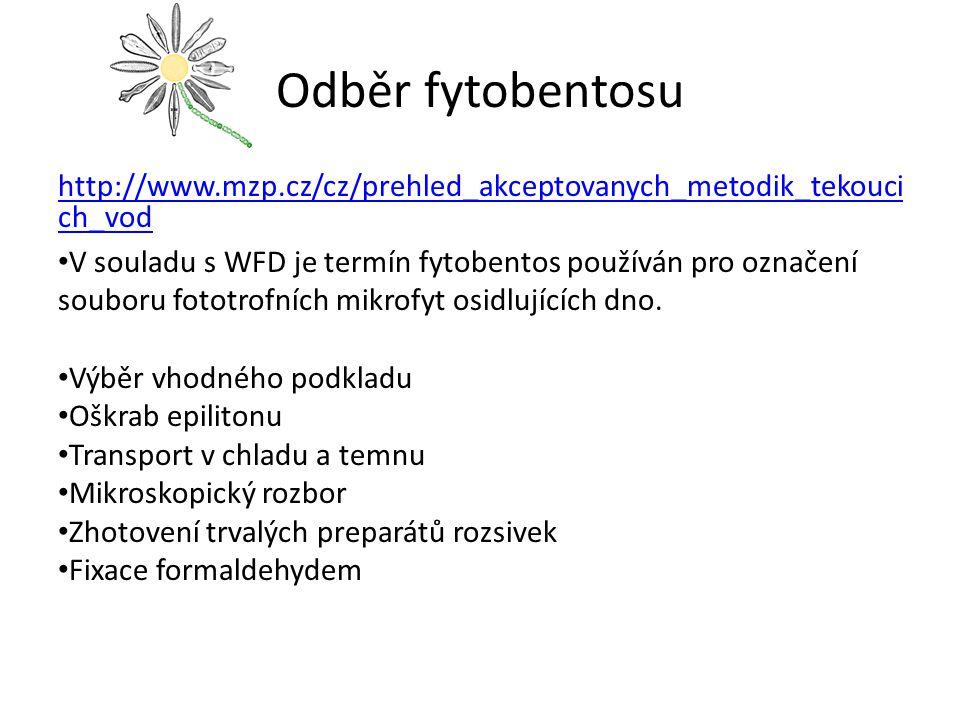 Odběr fytobentosu http://www.mzp.cz/cz/prehled_akceptovanych_metodik_tekouci ch_vod V souladu s WFD je termín fytobentos používán pro označení souboru