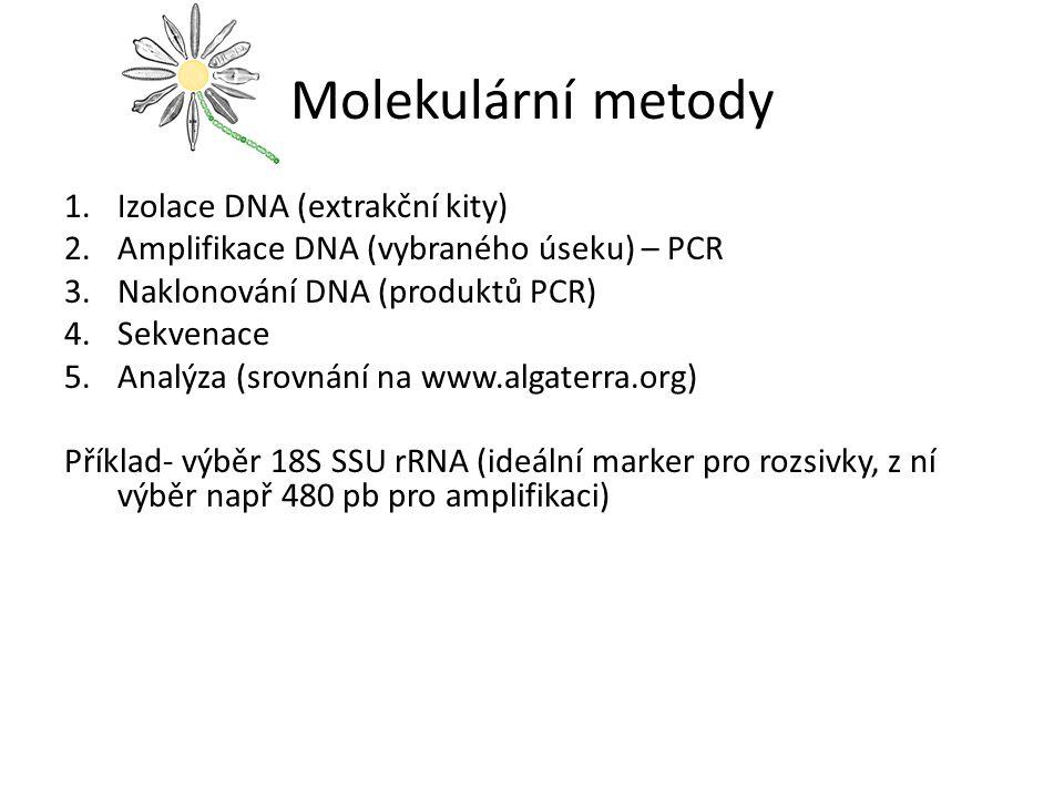 Molekulární metody 1.Izolace DNA (extrakční kity) 2.Amplifikace DNA (vybraného úseku) – PCR 3.Naklonování DNA (produktů PCR) 4.Sekvenace 5.Analýza (sr