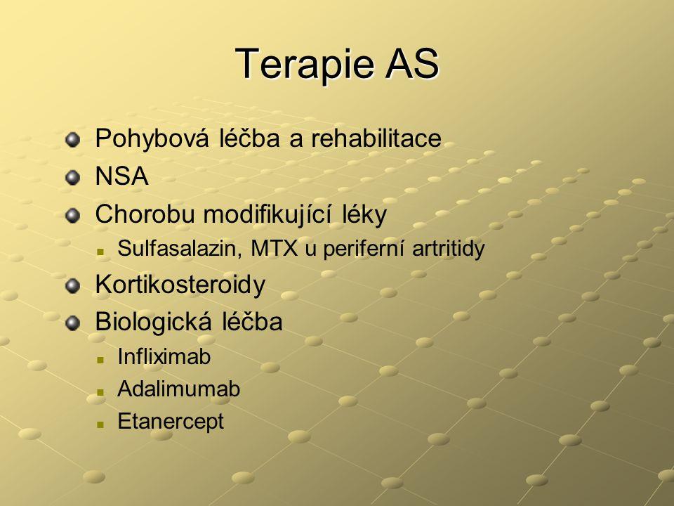 Terapie AS Pohybová léčba a rehabilitace NSA Chorobu modifikující léky Sulfasalazin, MTX u periferní artritidy Kortikosteroidy Biologická léčba Inflix