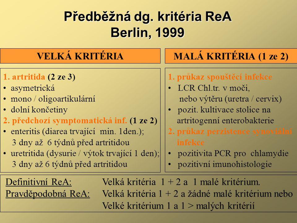 Předběžná dg. kritéria ReA Berlin, 1999 1. artritida (2 ze 3) asymetrická mono / oligoartikulární dolní končetiny 2. předchozí symptomatická inf. (1 z