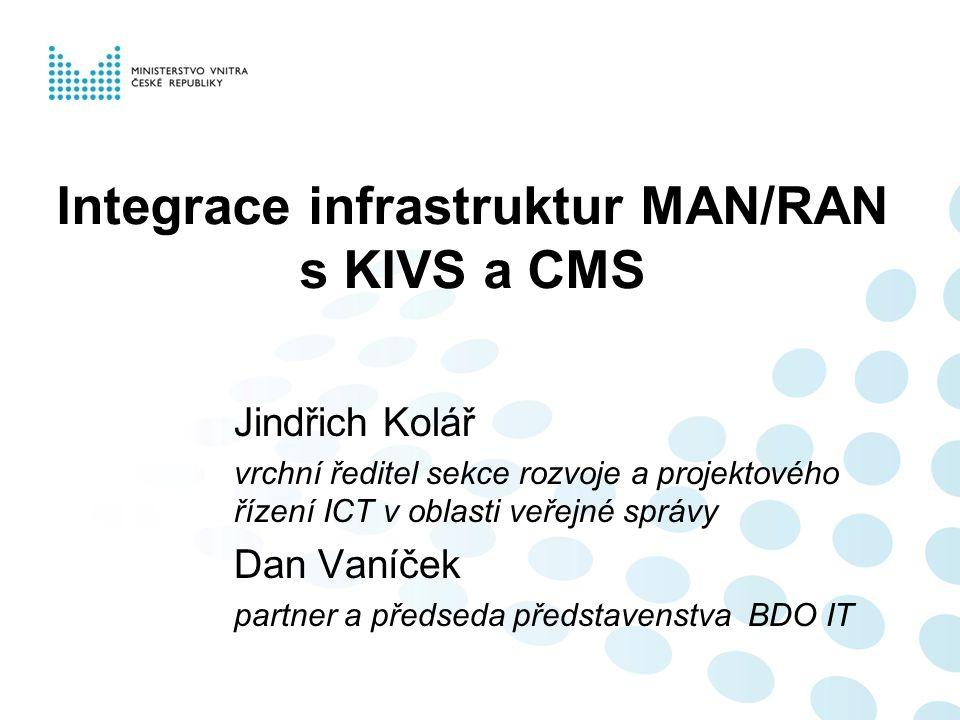 Integrace infrastruktur MAN/RAN s KIVS a CMS Jindřich Kolář vrchní ředitel sekce rozvoje a projektového řízení ICT v oblasti veřejné správy Dan Vaníče