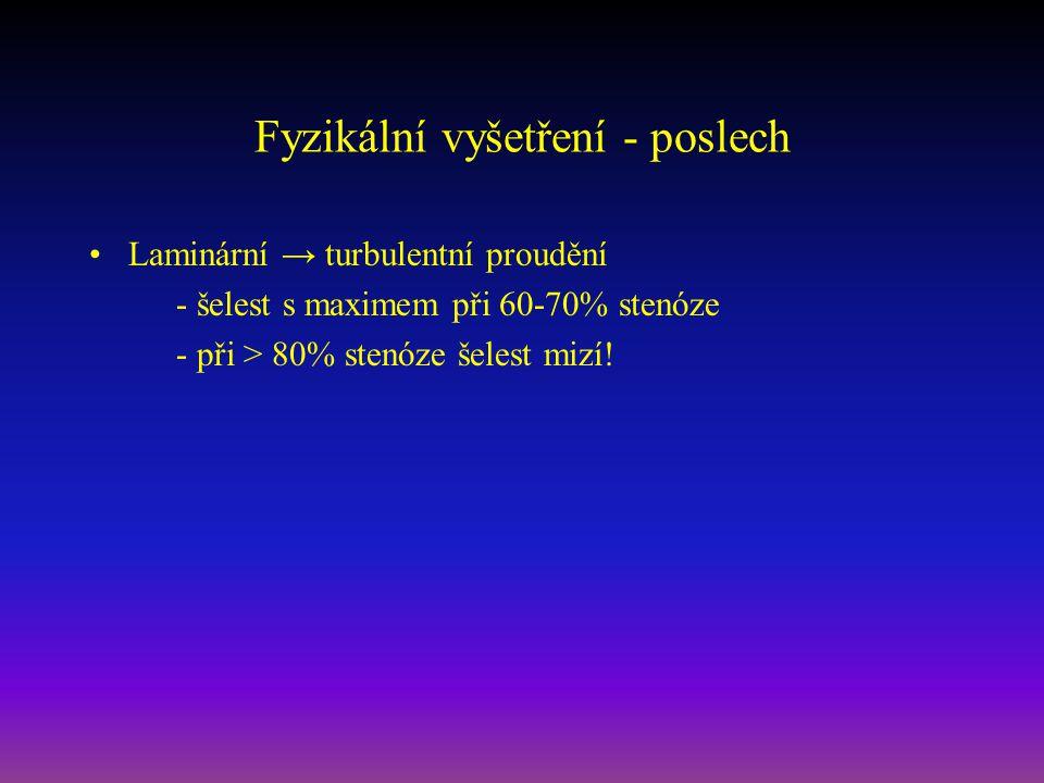 Fyzikální vyšetření - poslech Laminární → turbulentní proudění - šelest s maximem při 60-70% stenóze - při > 80% stenóze šelest mizí!