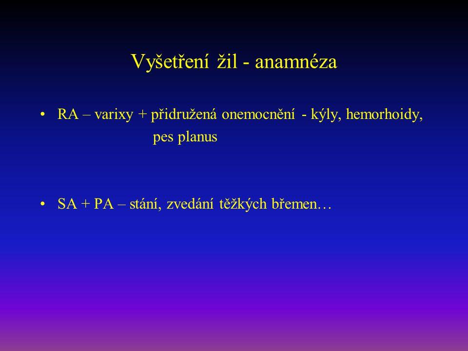 Vyšetření žil - anamnéza RA – varixy + přidružená onemocnění - kýly, hemorhoidy, pes planus SA + PA – stání, zvedání těžkých břemen…